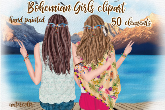 Hippie Girls Clipart Bohemian Girls Graphic Illustrations By LeCoqDesign