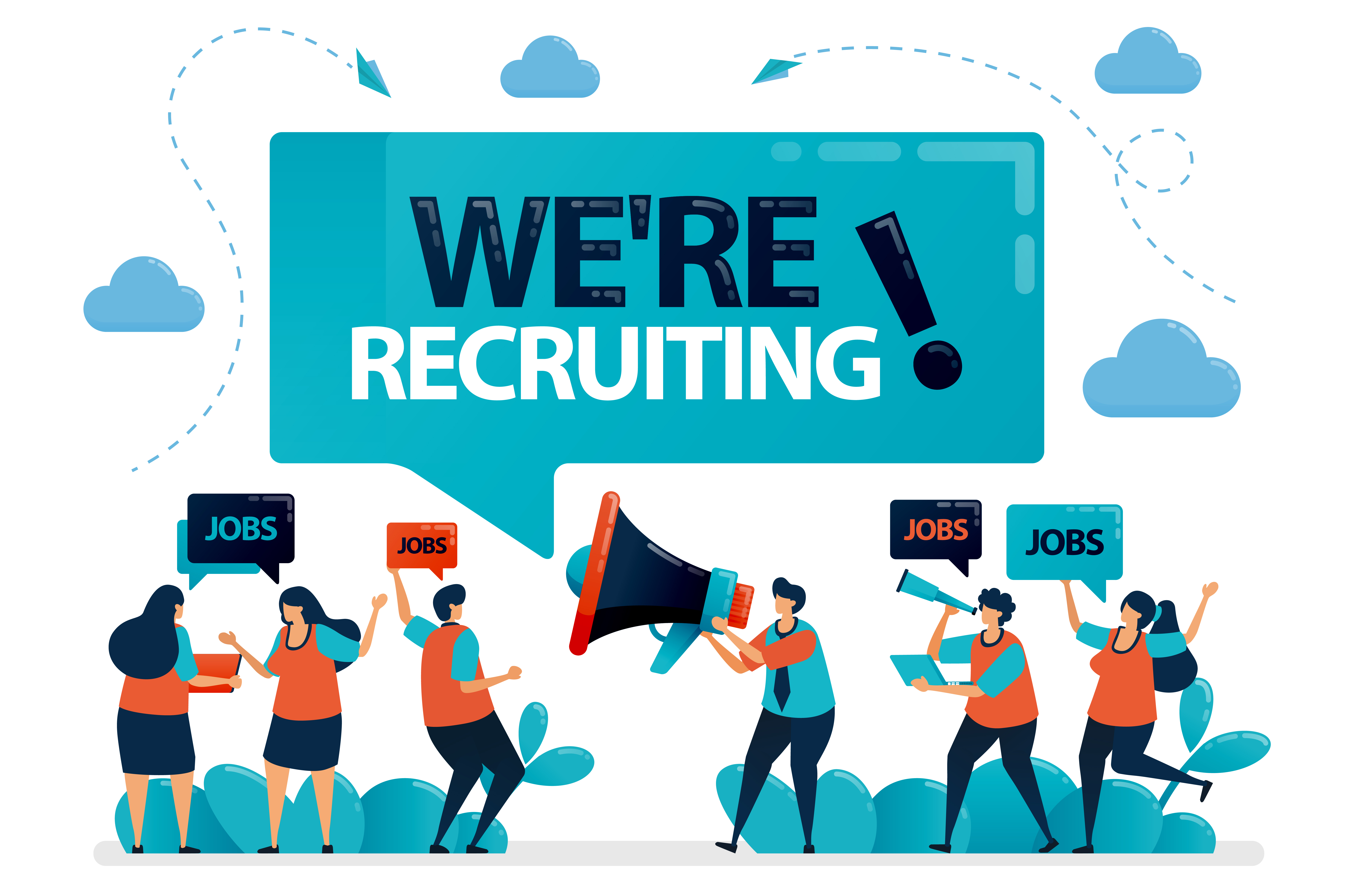 Download Free Job Seekers Announces For We Re Hiring Graphic By for Cricut Explore, Silhouette and other cutting machines.