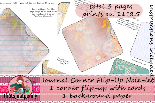 Download Free Journal Corner Flipup Print Graphic By Thatsjustpenny Creative for Cricut Explore, Silhouette and other cutting machines.
