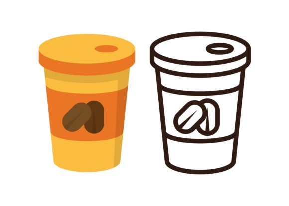 Print on Demand: Kids Coloring Coffee Cup Graphic Illustrations By studioisamu