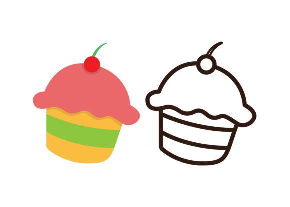Download Free Kids Coloring Cupcake Graphic By Studioisamu Creative Fabrica for Cricut Explore, Silhouette and other cutting machines.