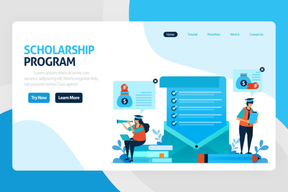 Download Free Landing Page For Scholarship Education Graphic By for Cricut Explore, Silhouette and other cutting machines.