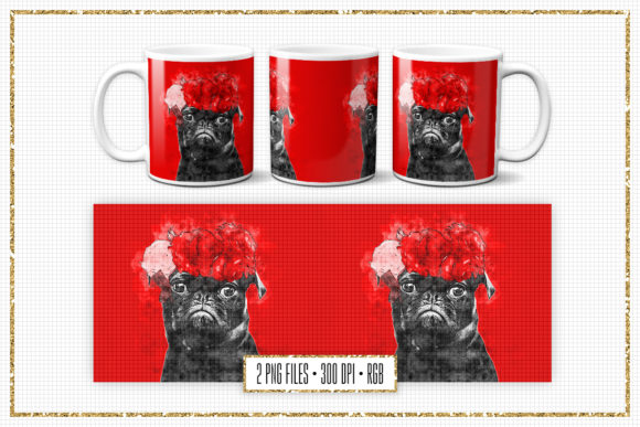 Print on Demand: Pug Sublimation Mug Design Graphic Print Templates By Sabina Leja