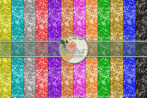 Print on Demand: Rainbow of Glitter Papers Graphic Backgrounds By QueenBrat Digital Designs