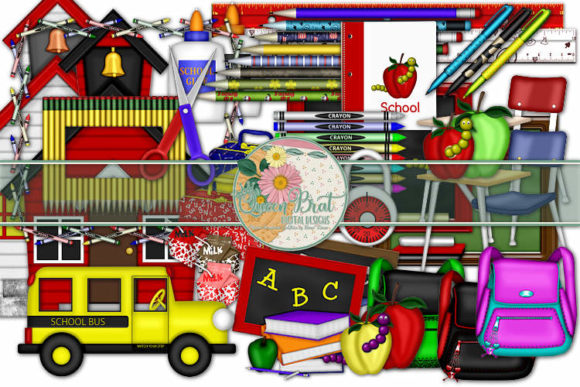 Print on Demand: School Supplies Embellishments Graphic Illustrations By QueenBrat Digital Designs