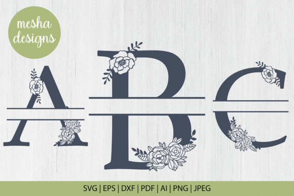 Download Free Split Floral Letters A To Z Paper Cut Graphic By Diycuttingfiles Creative Fabrica for Cricut Explore, Silhouette and other cutting machines.