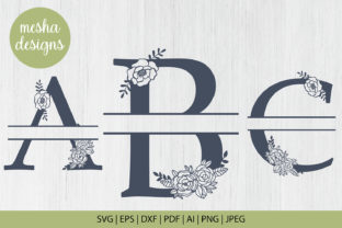 Print on Demand: Split Floral Letters a to Z Paper Cut Graphic Crafts By DIYCUTTINGFILES