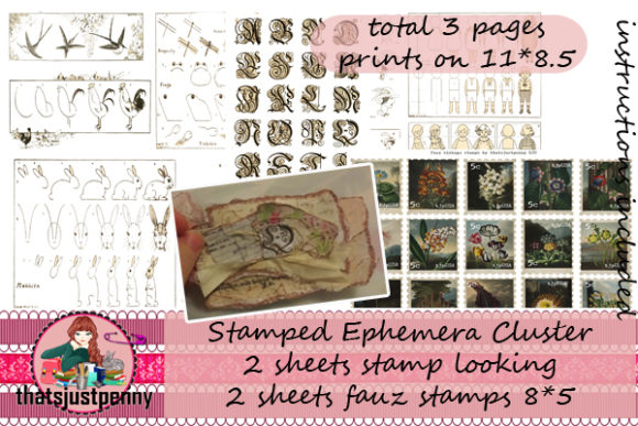 Download Free Stamped Ephemera Cluster Print Graphic By Thatsjustpenny for Cricut Explore, Silhouette and other cutting machines.