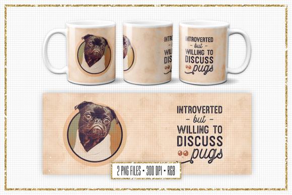 Print on Demand: Sublimation Mug Design for Pug Lovers Graphic Print Templates By Sabina Leja