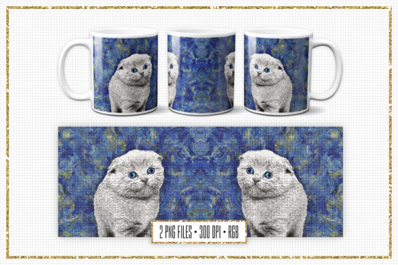 Print on Demand: Sublimation Mug Design - Van Gogh Cat Graphic Print Templates By Sabina Leja