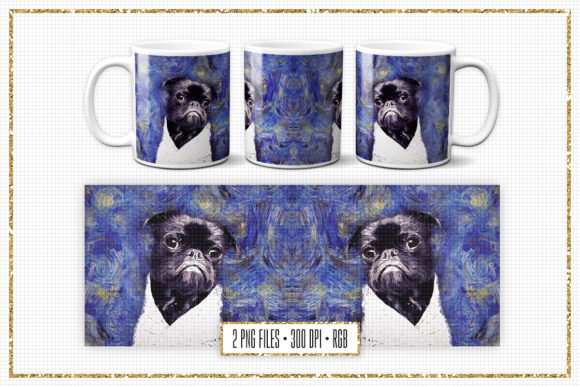 Print on Demand: Sublimation Mug Design - Van Gogh Pug Graphic Print Templates By Sabina Leja