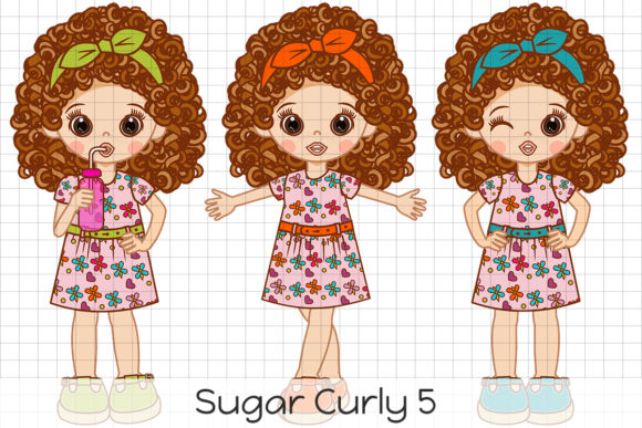 Print on Demand: Sugar Curly 5 Graphic Illustrations By Dolls To Go