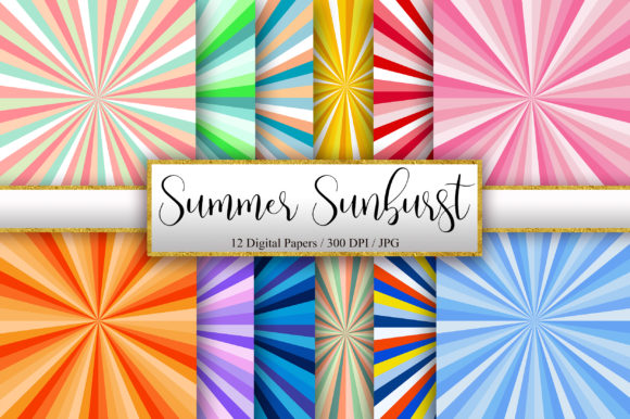 Summer Sunburst Background Digital Paper Graphic Backgrounds By PinkPearly
