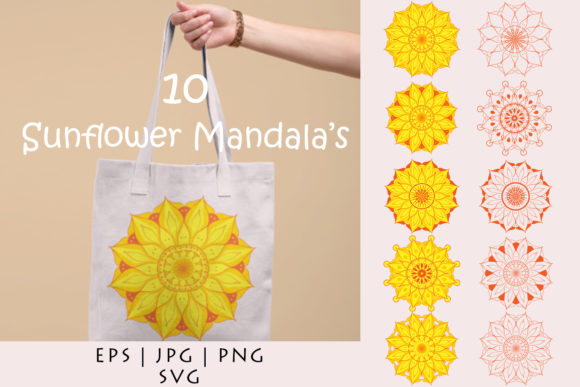 Sunflower Mandalas Vector Cut Files Graphic By Damasyp