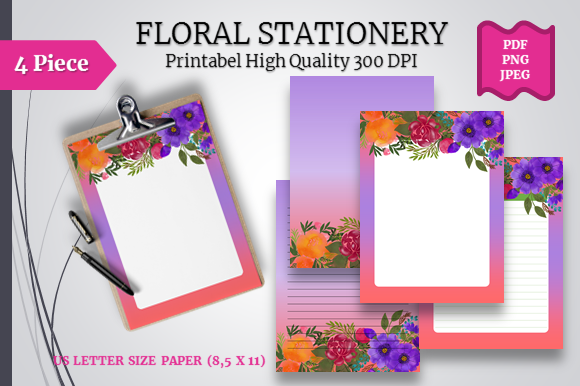Watercolor Floral Stationery Printable Graphic By