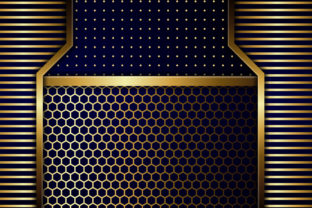 Print on Demand: Blue Light Gold Geometric Background Gráfico Fondos Por noory.shopper