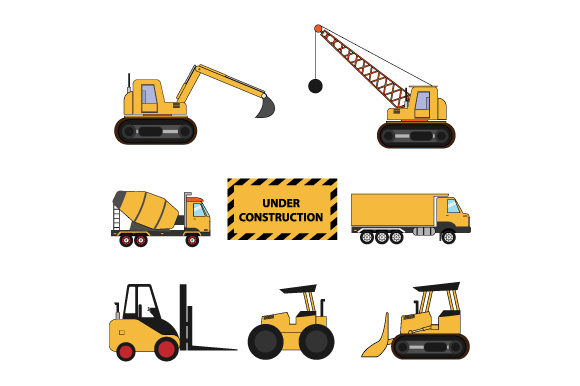 Print on Demand: Construction Vehicles Graphic Illustrations By curutdesign