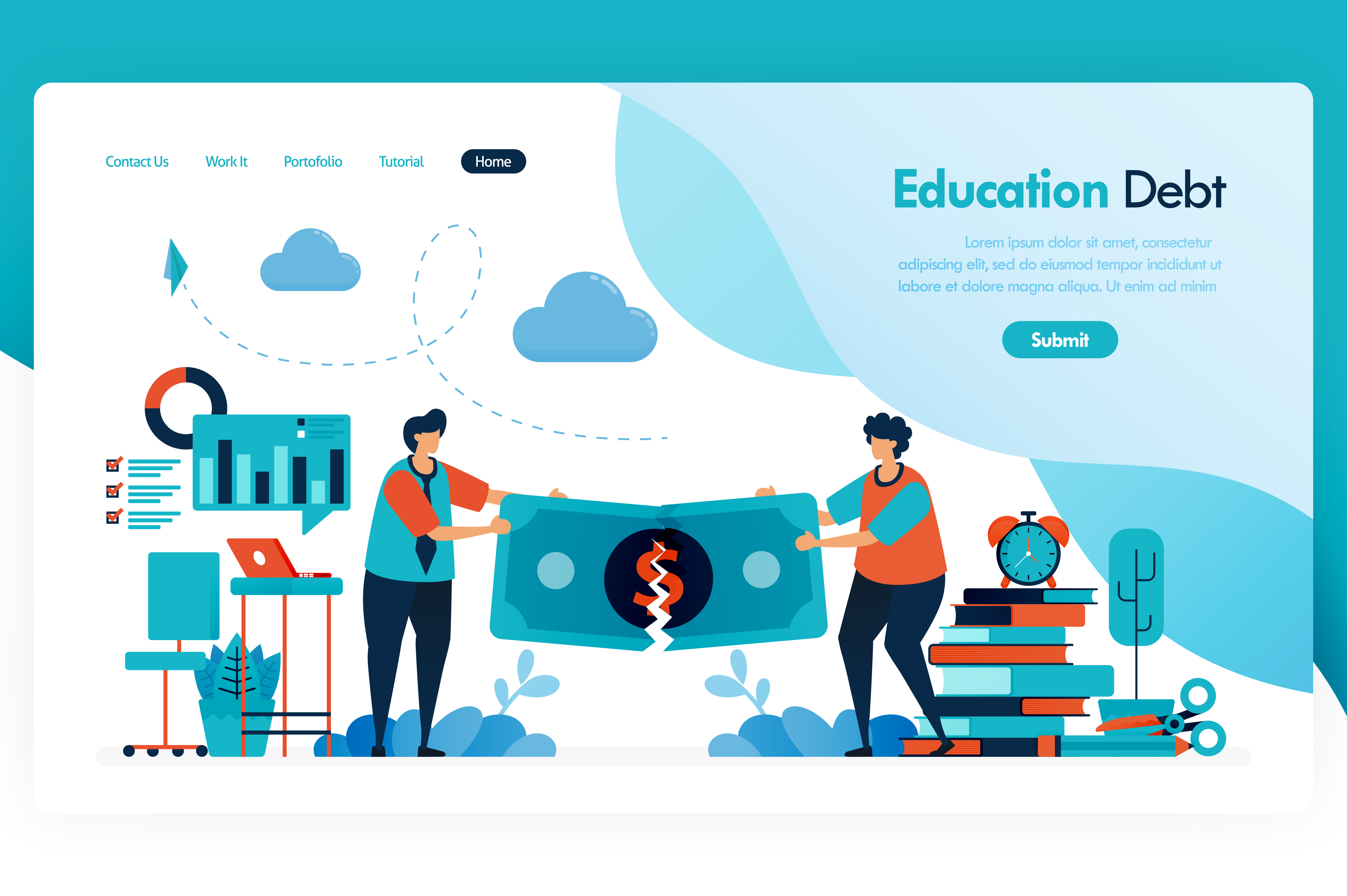 Download Free Landing Page For Education Debt Graphic By Setiawanarief111 for Cricut Explore, Silhouette and other cutting machines.