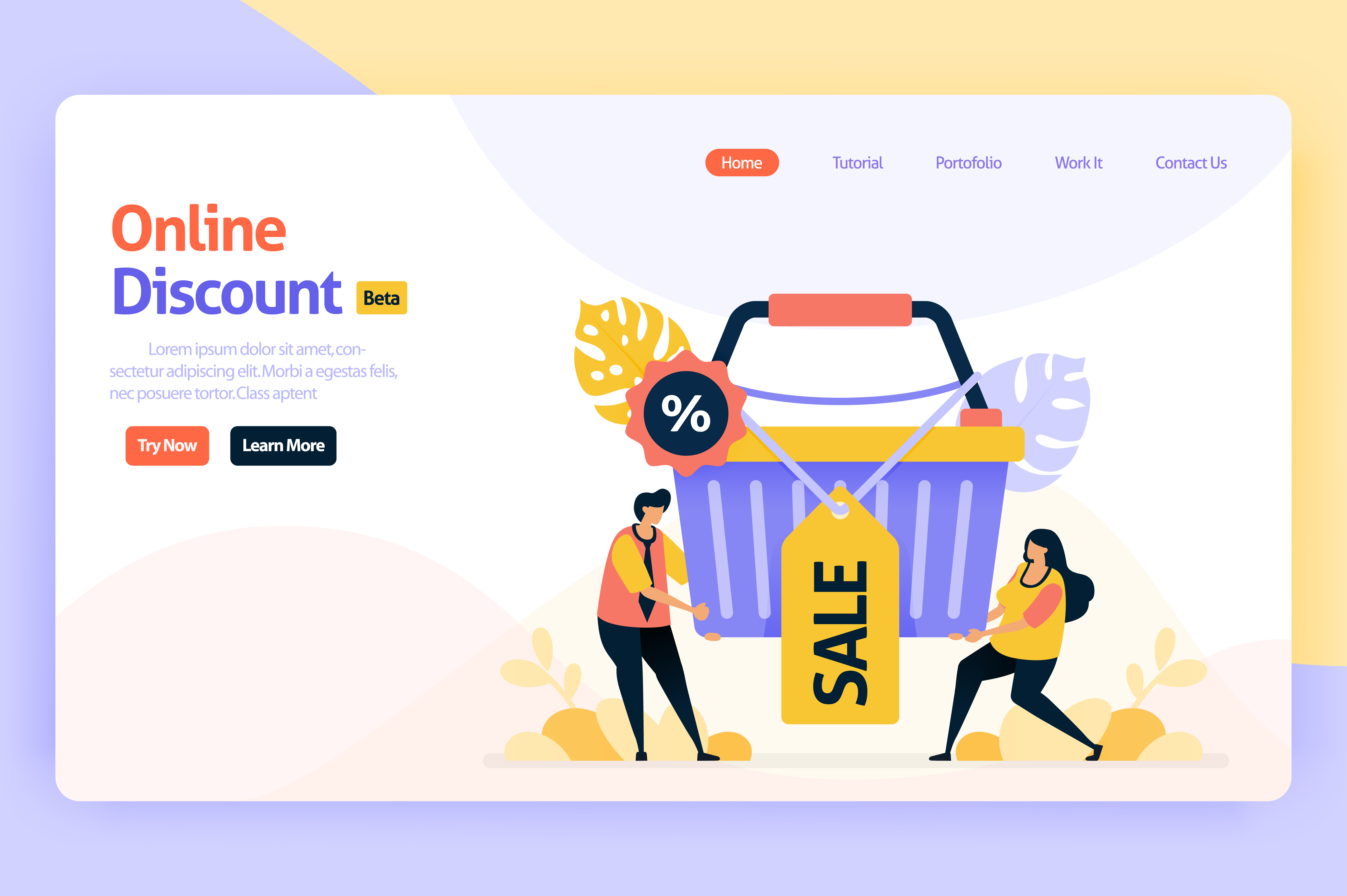 Download Free Landing Page For Online Discounts Graphic By Setiawanarief111 for Cricut Explore, Silhouette and other cutting machines.