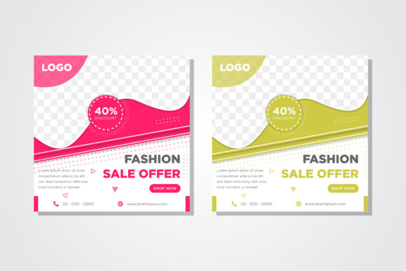 Print on Demand: Pink Green Fashion Sale Square Banner Graphic Graphic Templates By noory.shopper