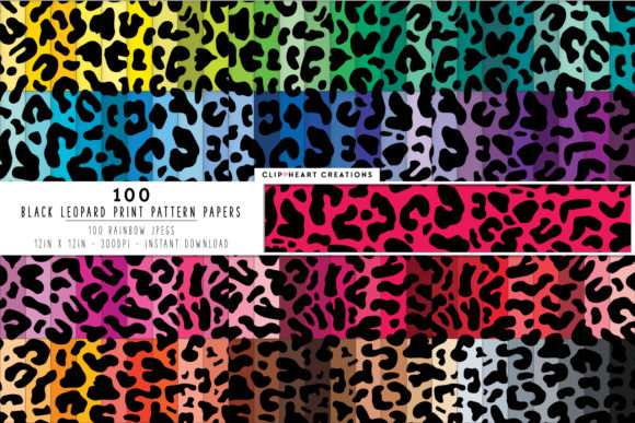 100 Leopard Print Pattern Digital Papers Graphic By