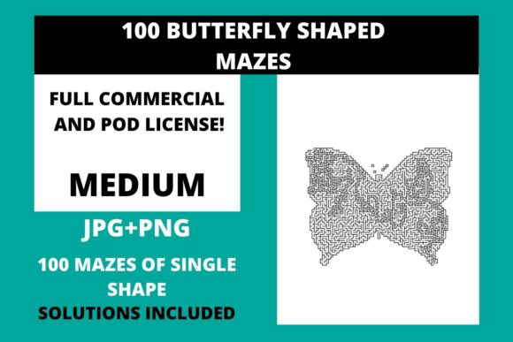 Print on Demand: 100 Medium Butterfly Shaped Mazes Graphic Illustrations By Fleur de Tango