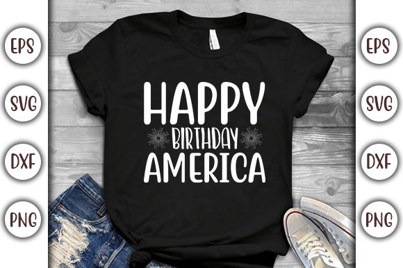 Print on Demand: 4th of July Design, Happy Birthday Graphic Print Templates By GraphicsBooth