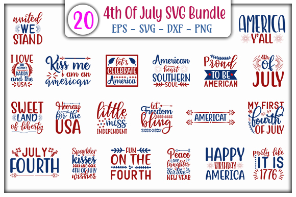 Download Free 4th Of July Quotes Bundle Graphic By Graphicsbooth Creative for Cricut Explore, Silhouette and other cutting machines.
