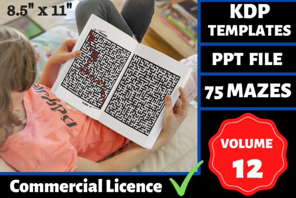 Print on Demand: 75 Mazes Book | KDP Interior | Volume 12 Graphic KDP Interiors By Mastery Templates
