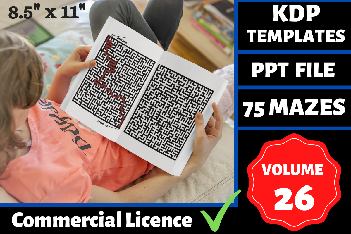 Download Free 75 Mazes Book Kdp Interior Volume 26 Graphic By Mastery for Cricut Explore, Silhouette and other cutting machines.