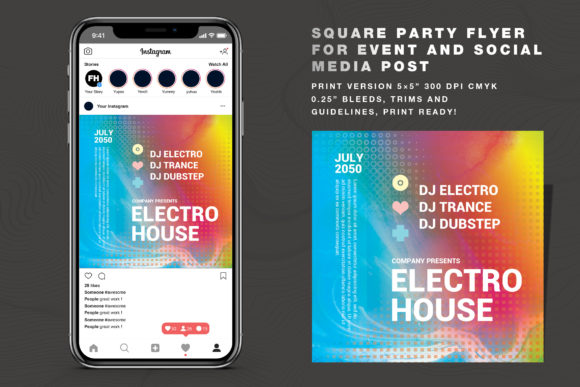 Abstract Party Flyer Social Media Post Graphic Print Templates By feydesign
