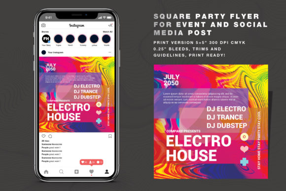 Download Free Abstract Party Vol 02 Flyer Social Media Graphic By Feydesign for Cricut Explore, Silhouette and other cutting machines.