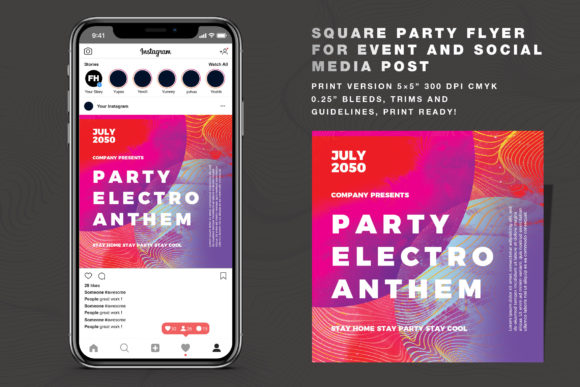 Abstract Party Vol 03 Flyer Social Media Graphic Print Templates By feydesign