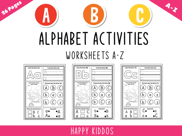 Alphabet Activities: Worksheets a-Z Graphic K By Happy Kiddos