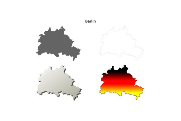 Download Free Berlin Outline Map Set Graphic By Davidzydd Creative Fabrica for Cricut Explore, Silhouette and other cutting machines.