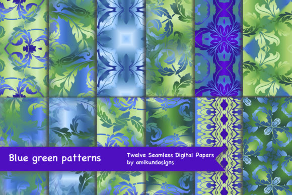 Blue Green Leafy Scroll Pattern Graphic Patterns By emikundesigns