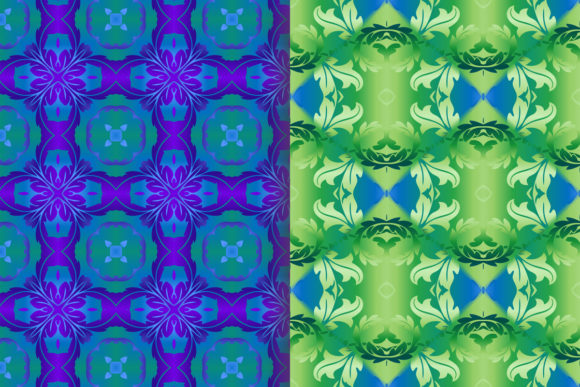 Blue Green Leafy Scroll Pattern Graphic Patterns By emikundesigns - Image 2