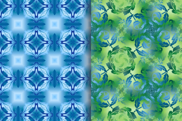 Blue Green Leafy Scroll Pattern Graphic Patterns By emikundesigns - Image 3