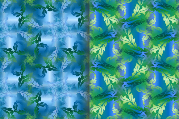 Blue Green Leafy Scroll Pattern Graphic Patterns By emikundesigns - Image 4