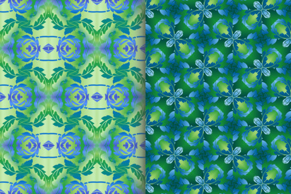 Blue Green Leafy Scroll Pattern Graphic Patterns By emikundesigns - Image 5