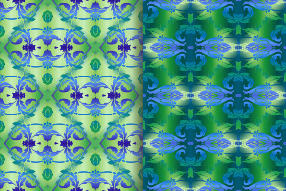 Blue Green Leafy Scroll Pattern Graphic Patterns By emikundesigns - Image 6