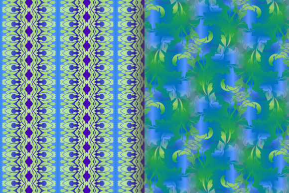 Blue Green Leafy Scroll Pattern Graphic Patterns By emikundesigns - Image 7
