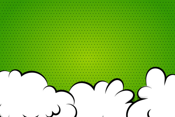 Cartoon Puff Cloud Green for Text Comics Graphic Backgrounds By Kapitosh