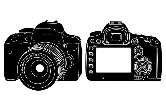 Download Free Dslr Camera Vector Graphic By Therintproject Creative Fabrica for Cricut Explore, Silhouette and other cutting machines.