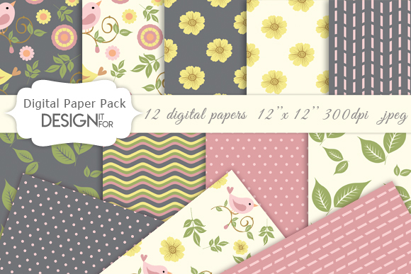Download Free Digital Paper Pack Birds Flowers Graphic By Designitfor for Cricut Explore, Silhouette and other cutting machines.