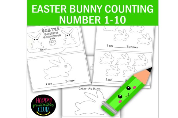 Print on Demand: Easter Bunny Counting Numbers 1-10 Graphic K By Happy Printables Club