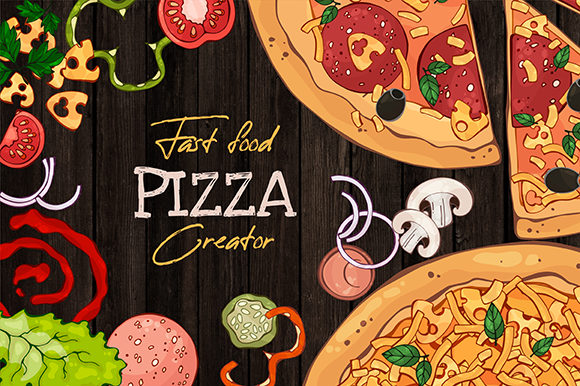 Fast Food Pizza Creator Graphic Illustrations By pomelkomy