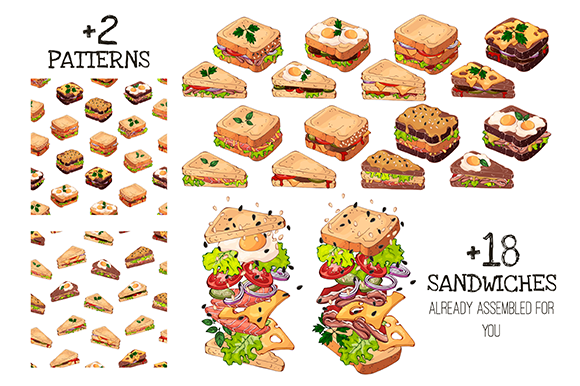Download Free Fast Food Sandwich Creator Graphic By Pomelkomy Creative Fabrica for Cricut Explore, Silhouette and other cutting machines.