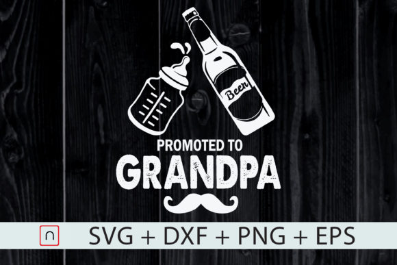 Download Free First Time Dad Promoted To Grandpa Graphic By Novalia Creative for Cricut Explore, Silhouette and other cutting machines.