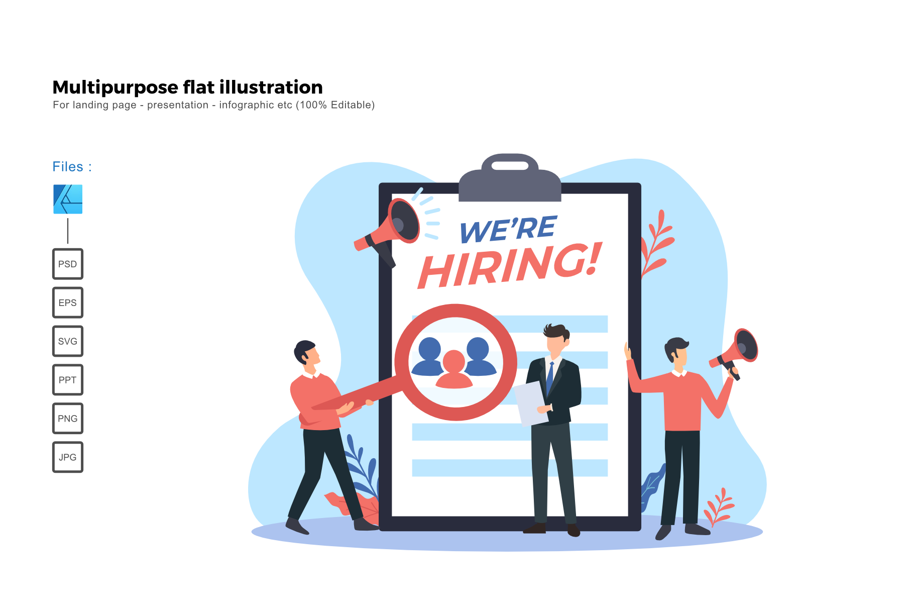 Download Free Flat Illustration Hiring Teams Graphic By Rivatxfz Creative for Cricut Explore, Silhouette and other cutting machines.